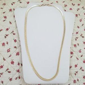 14k Gold Plated Herringbone Design Necklace
